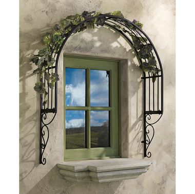 Thornbury Ornamental Metal Garden Window Trellis: Our attention-getting garden trellis adds the perfect European architectural accent as it dresses up and adds unexpected beauty to even a plain window!