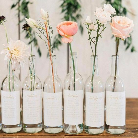 A spin on the traditional seating chart- Kate wanted wine bottle labels to assign her guests to a table, and we are loving it!!! But wait-…