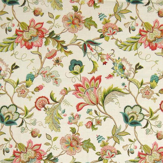 Jewel Red and Green Floral Print Upholstery Fabric | Upholstery ...