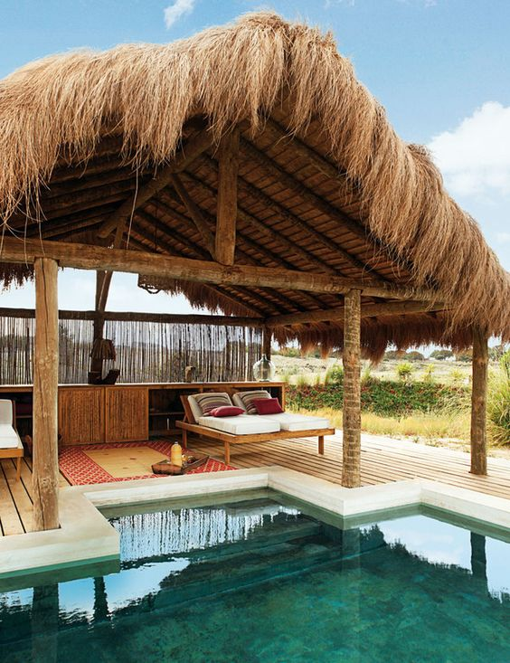 Pool hut: Alentejo Portugal, Beach House,  Thatched Roof, Summer Home, Favorite Place, Beautiful Place