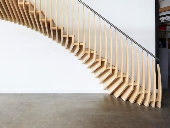 Timber Staircase, organic and skeletal but doesn't quite look placed in the room it's in.Jejjjj6@sbcglobal.net