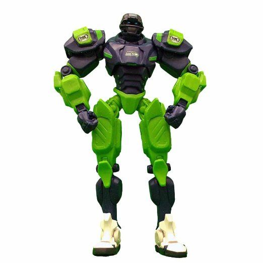 Both boys would adore this; The NFL Robot in Seahawks logo/colors.  They love watching the robot on the TV, and both play with all things robots and transformers.  Oddly enough, Bug even takes better care of them.