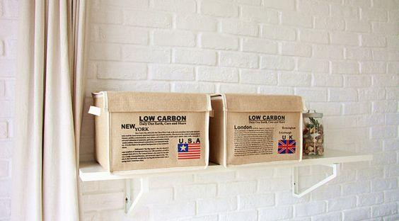 Natural lino Eco amigable cesta del almacenaje, depósito, cestillo reciclar - forma cuadrada con tapa & mango. Impreso con Reino Unido / Estados Unidos bandera