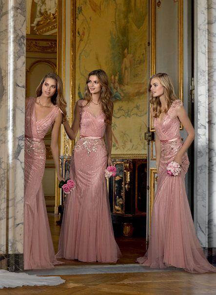 New 2017 Bridesmaid Dresses Blush Pink Tulle Deep V Neck Bling ...