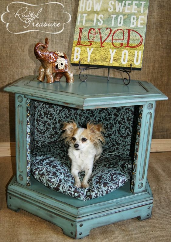 Diy end table dog beds before and after refinished and for Making a dog bed out of a table