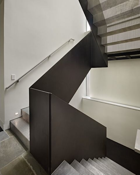 contemporary staircase with metal mesh risers treads. Black Bedroom Furniture Sets. Home Design Ideas