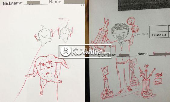 guru ini memoles gambar muridnya yang belum selesai, begini jadinya