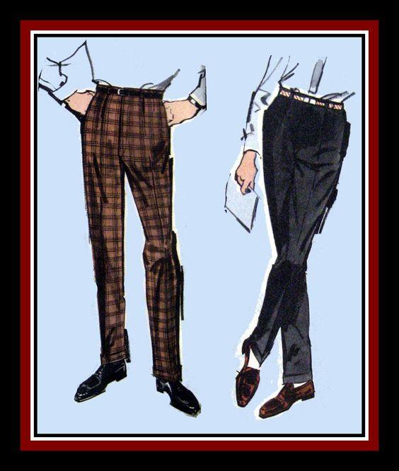 Vintage 1960s-LONDON MOD-Men's Sewing Pattern-Tapered- Cigarette Leg-Cuffed Pants-BonusTailoring Press Tools Pattern-Size 42-Mega Rare by FarfallaDesignStudio on Etsy