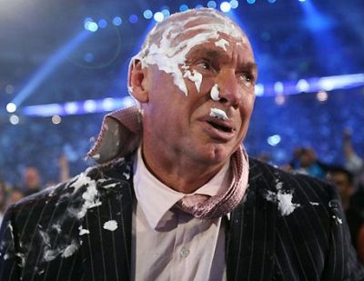Donald Trump shaves Vince McMahon's head. This made Vince sad.