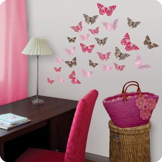 Mariposas en 3d la plancha en especial para decorar - Manualidades para decorar paredes ...