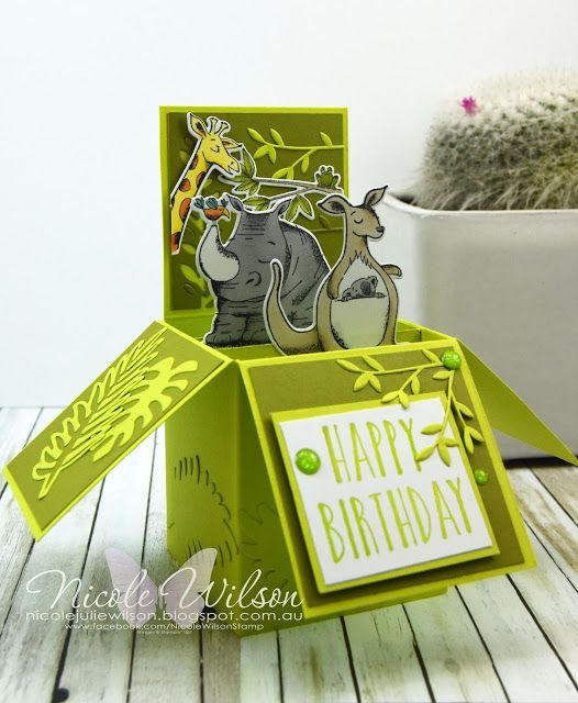 Nicole Wilson Independent Stampin' Up!® Demonstrator Onstage wrapup. My unfinished display board box card sample using Animal Outing, Tropical Thinlits and Animal Friends Thinlits #stampinup #onstage #onstage18 #stampinup30 #nicolewilsonstamp #birthday #boxcard #animalouting #displaystamper