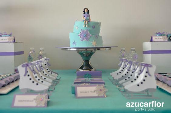 Ice skating dessert table