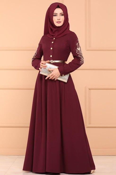 99 Tl Nakisli Tasli Elbise 5007 1ay342 S Bordo Fashion Head Scarf Hijab