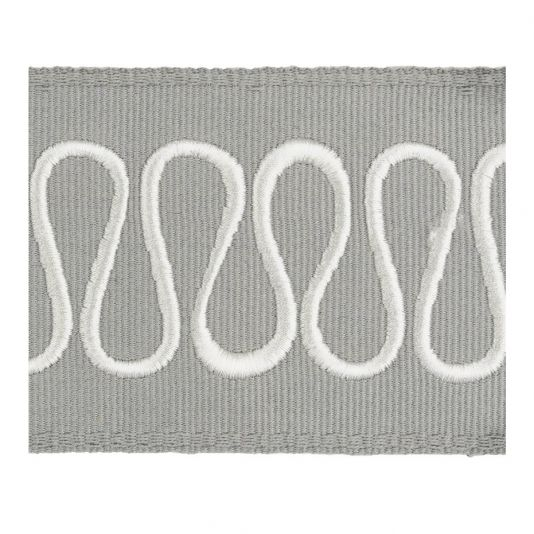 Bodoni Tape - A smart braid with a meandering line embroidered in glossy white threads on a dove ground.