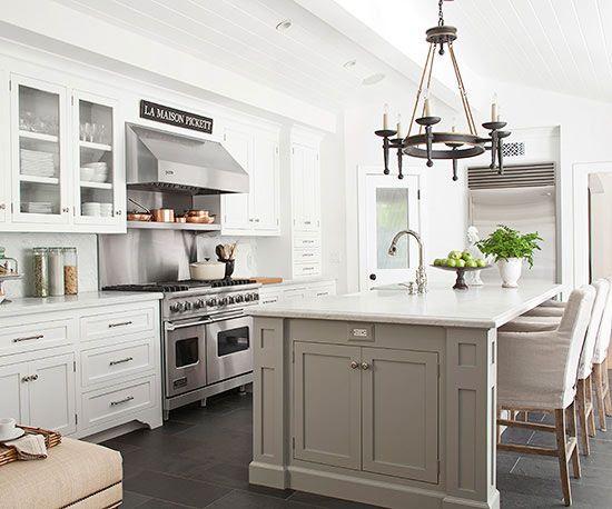 Slate flooring gray island and slate on pinterest for Slate grey kitchen cabinets