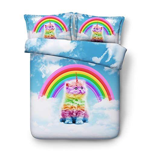 Double Duvet Covers Set Blue Rainbow And Cat Pattern Single Double King Queen B 200cm Width225cm Long Duvet Cover Sets Blue Bedding Sets Duvet Covers