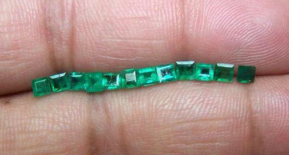 Assorted 2 – 3 mm Lush Green Brazilian Emerald Square Cut Faceted Gemstones…