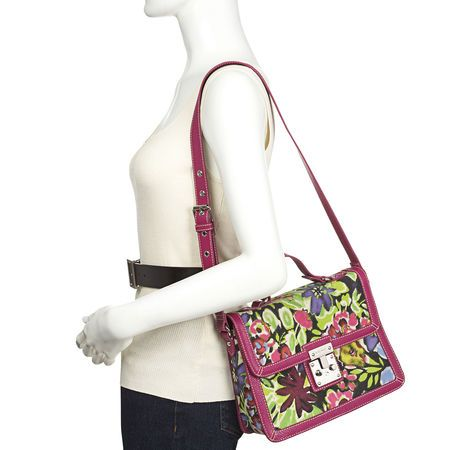 "Floral canvas bag with top handle and shoulder strap.  Metal lock front closure.  Inside features a zip and slip pocket.  Measures approximately 10"" L x 8"" H x 3"" D, 16"" adjustable shoulder strap."
