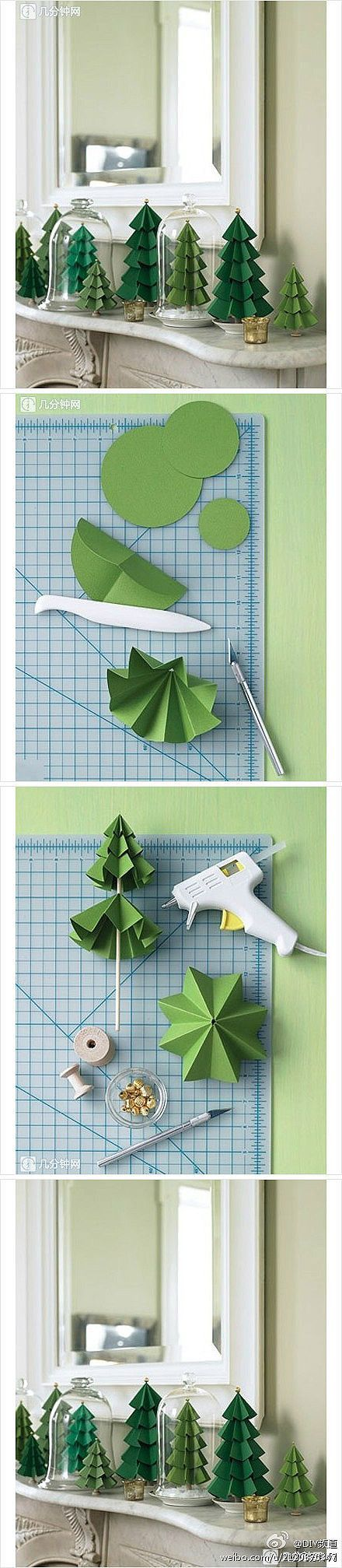How to make paper craft Christmas trees step by step DIY tutorial instructions::