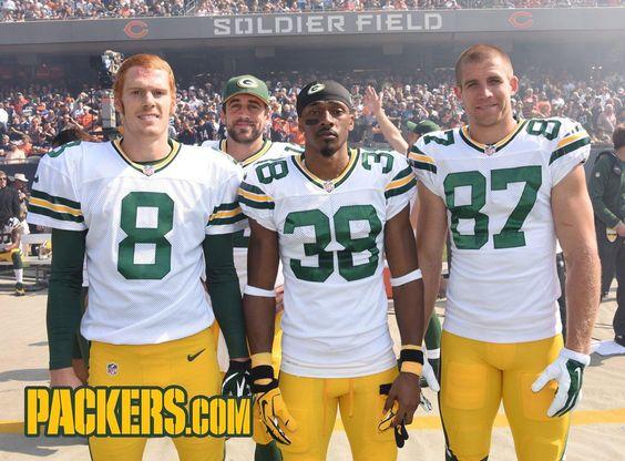 Jerseys NFL Online - 2014 Week 4: @ Chicago Bears Tim Masthay, Tramon Williams, Jordy ...