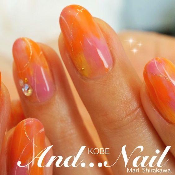 ネイル デザイン 画像 1573244 オレンジ ピンク その他 その他 夏 リゾート 海 春 ソフトジェル ハンド ミディアム