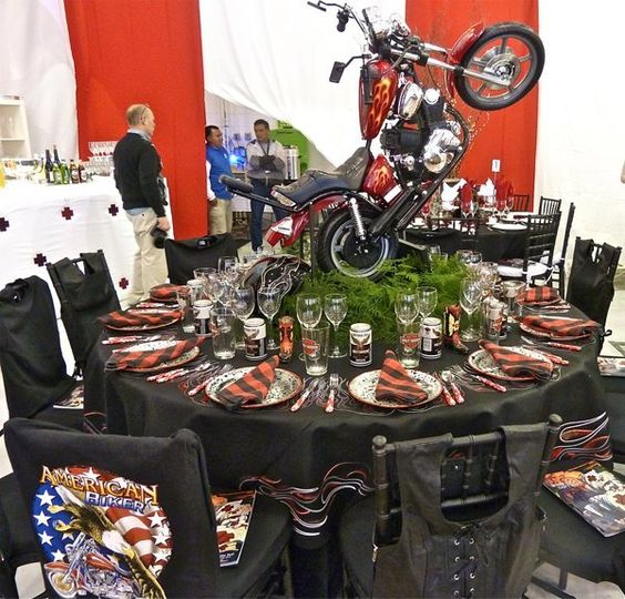 motorcycle centerpiece old pinterest retirement retirement parties and photos. Black Bedroom Furniture Sets. Home Design Ideas