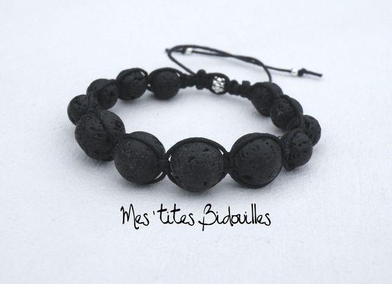 Pierre de Lave Bracelet Réglable Coton Noir style Shamballa Homme