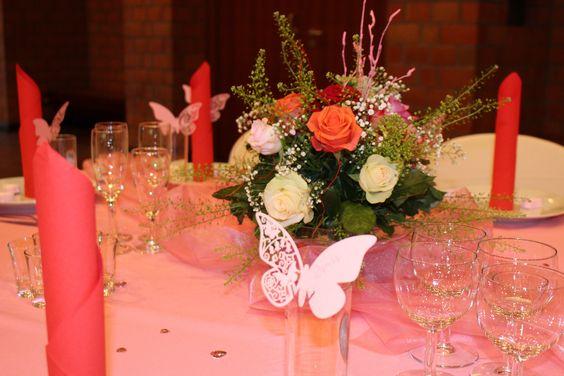 Wedding Decoration. Hochzeitsdekoration in rosa - rot . festliche-dekoration.de