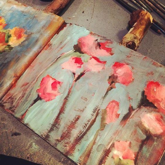 #fiveminutepainting #quicksketch #dailypractice #artjournal #mixedmedia #art #artist #rebeccamcfarland #flowerpainting