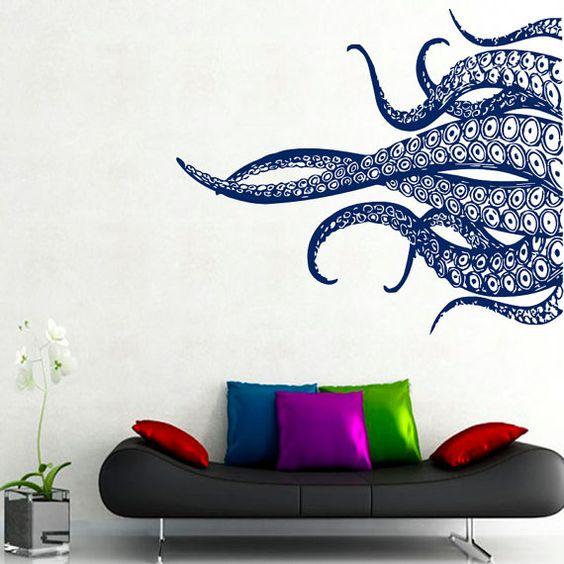 octopus wall decals tentacles stickers bathroom wall decor sea,