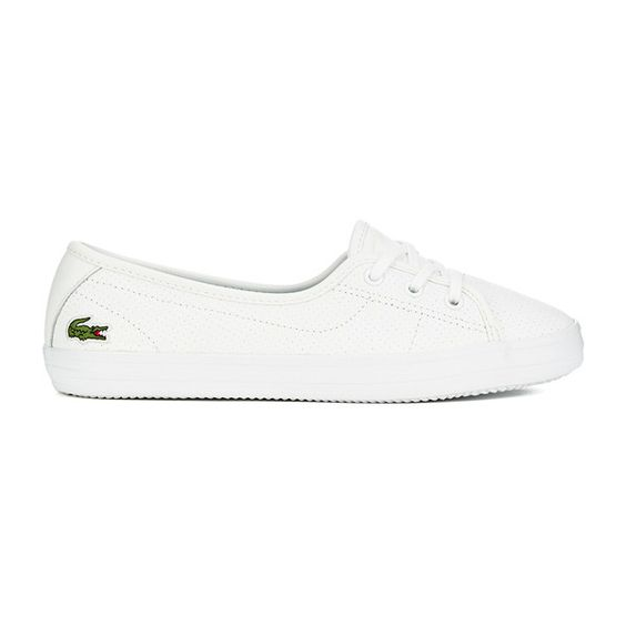Lacoste Women's Ziane Chunky 116 2 Leather Lace Pumps - White (£60) ❤ liked on Polyvore featuring shoes, pumps, white, low top, lacoste shoes, laced shoes, lace shoes and lace up shoes
