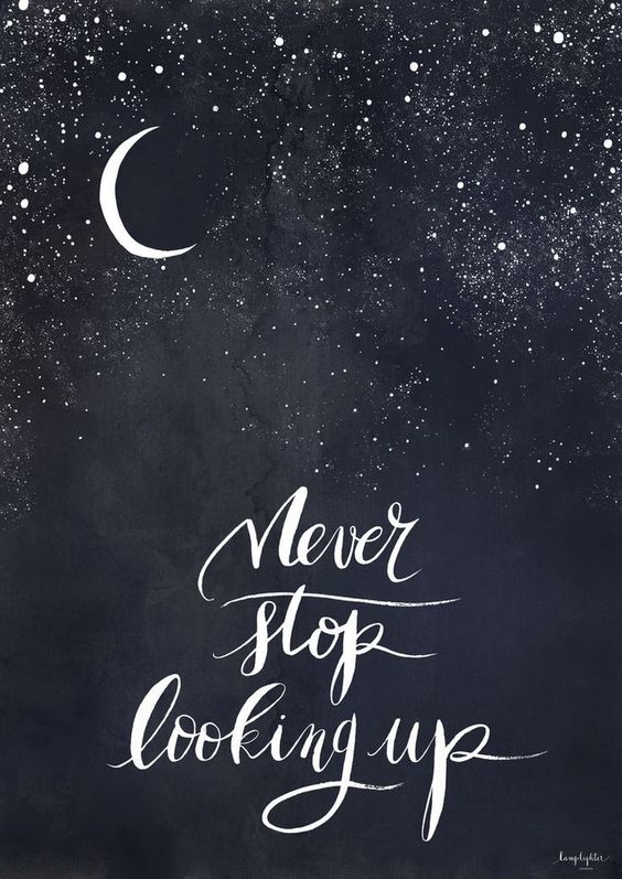 Never Stop Looking Up by Lamplighter London. Watercolour and calligraphy design donated to We Smile High for charity.: