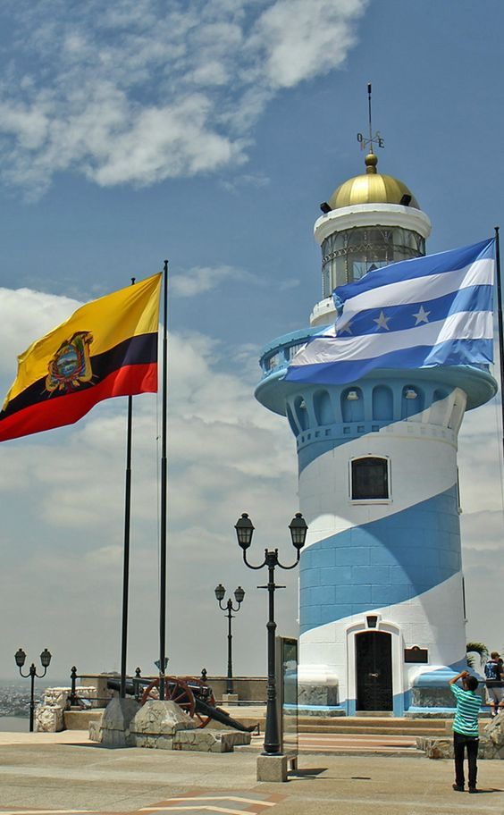 The lighthouse painted in the colors of the city flag...
