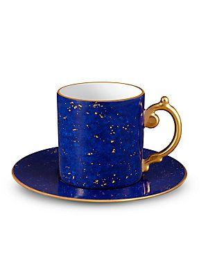 L'Objet Lapis-Look Limoges Porcelain & 24K Gold Espresso Cup &