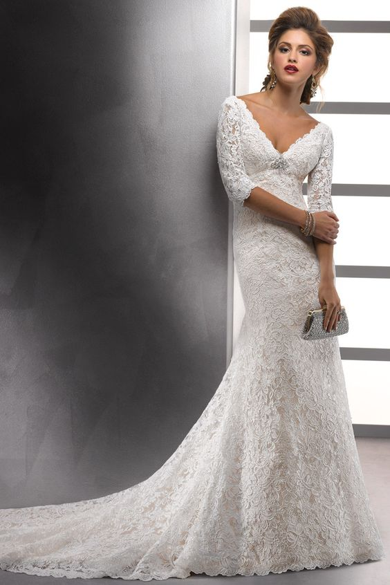 Lace wedding dresses mid length sleeves trumpet mermaid v neck court