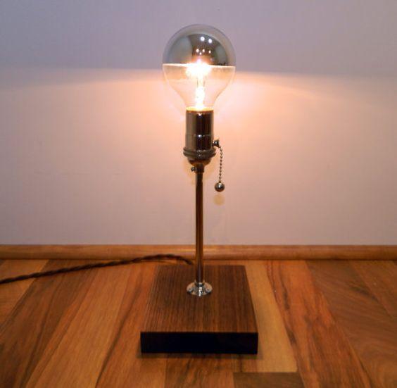 Reclaimed Walnut & Nickel Lamp