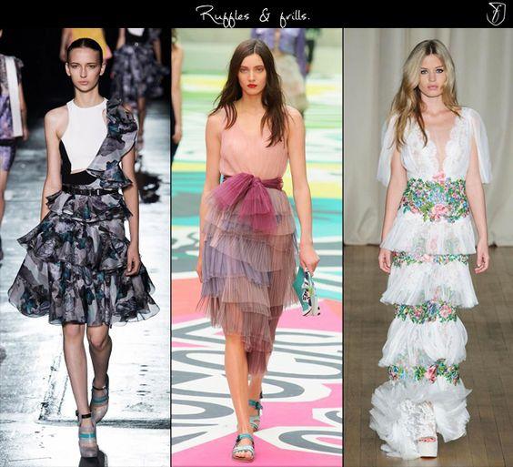 Spring 2015 fashion trends: Ruffles & frills. (rabal Gurung, Burberry Prorsum & Marchesa)