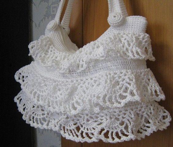 Handbag with ruffles crochet