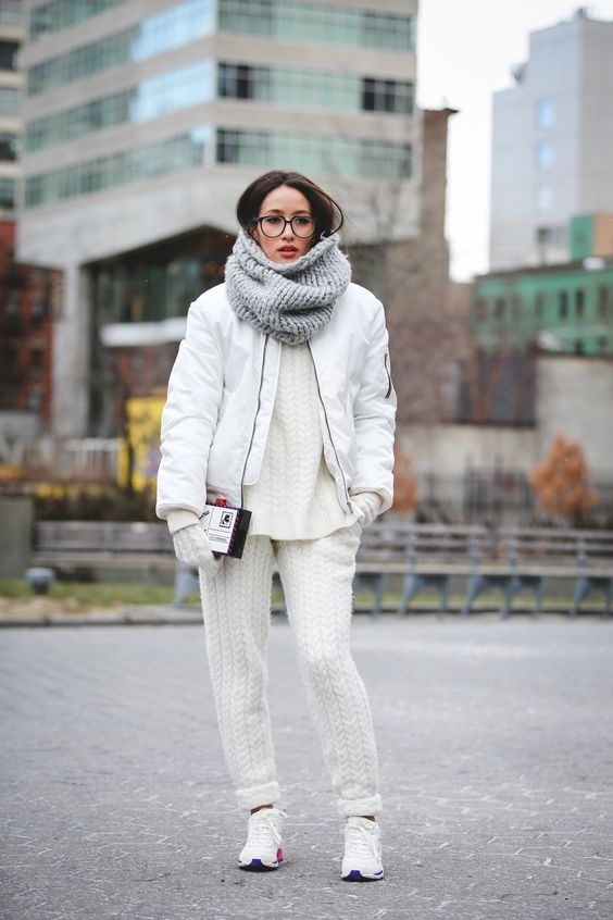 Knit suit and chunky grey knit cowl