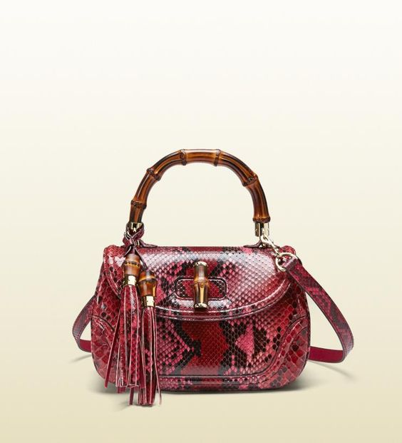 Gucci New Bamboo Python Top Handle Bag: