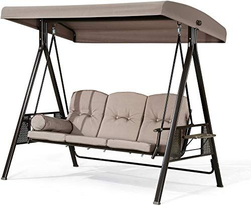 Tan Mainstays Forest Hills 3-Seat Cushion Canopy Porch Swing