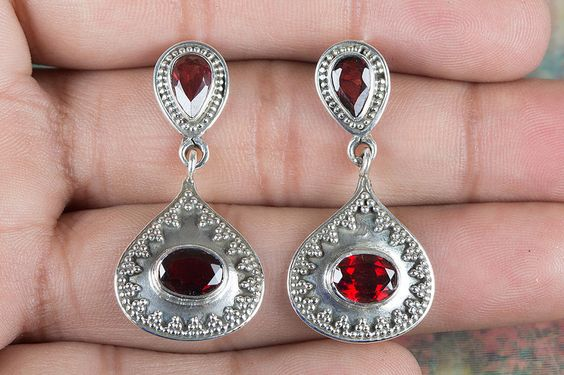 Silver Studs – Handmade Facetced Garnet Gemstone Silver Earring – a unique product by ArtisanJewellery on DaWanda