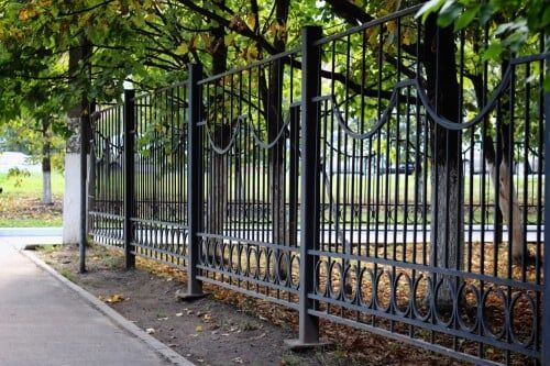 This Metal Fence Is Really Great I Love How Ornate The Work Is With The Circles And Loops On It However It Still L Security Fence Iron Fence Aluminum Fence