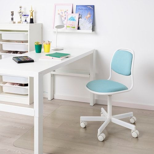 Orfjall Chaise De Bureau Enfant Blanc Vissle Bleu Vert Ikea Childrens Desk And Chair Kids Desk Chair Childrens Desk