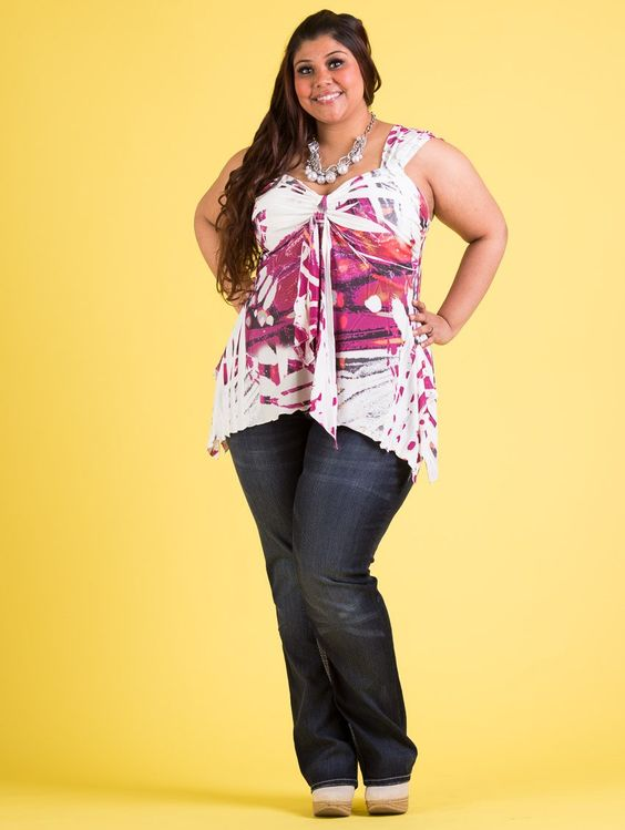 Image result for jeans and printed top bbw