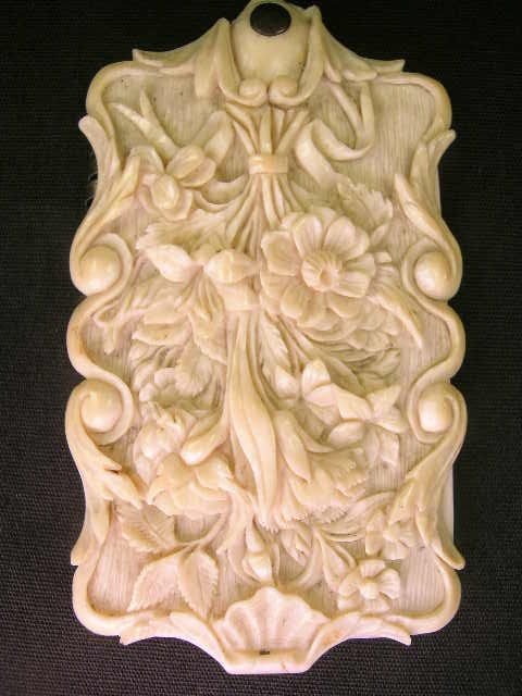 ANTIQUE HEAVILY CARVED IVORY DANCE CARD CASE