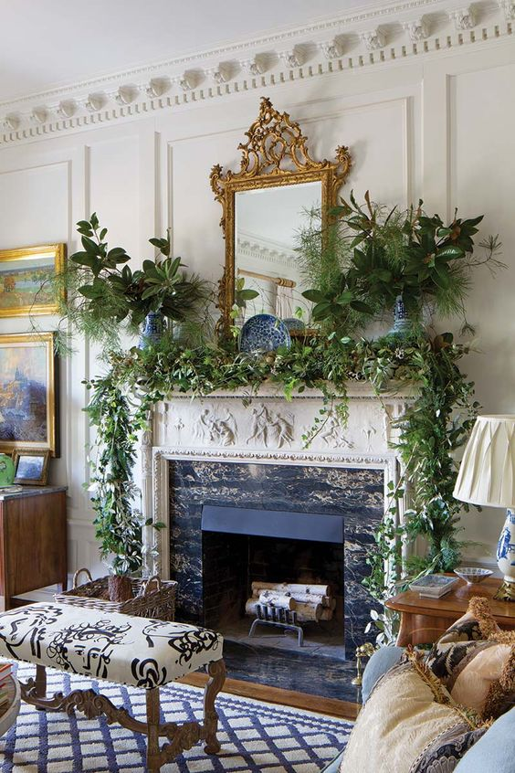 Christmas decor in an elegant room with fireplace - Sybil Sylvester