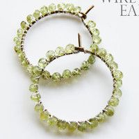 Peridot Wire Wrapped Earrings