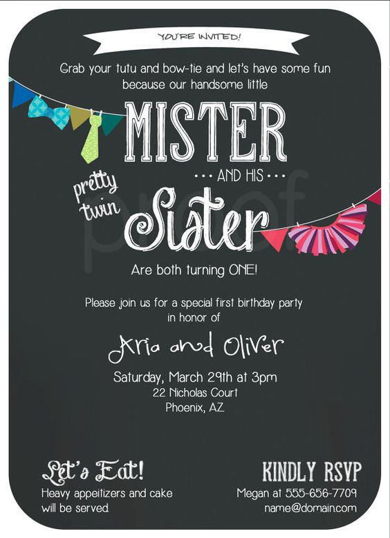 Twins Tutu and Tie birthday party invite 20 by popcornandpixels