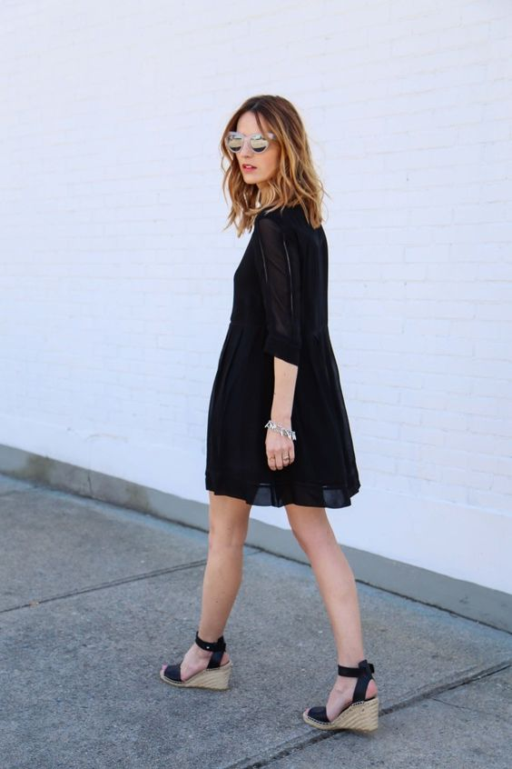little black dress, French Connection confetti drape dress, cat eye mirrored sunglasses, prosecco and plaid, vince espadrille sandals